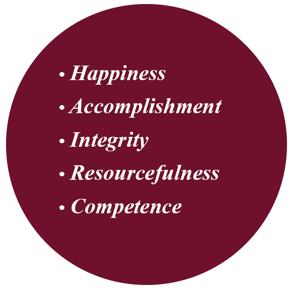 Happiness, accomplishment, Integrity, Resourcefulness, competence.